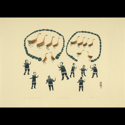 Chasing Geese Into Pens, Kiakshuk, Cape Dorset, 2012 Sping Print Collection